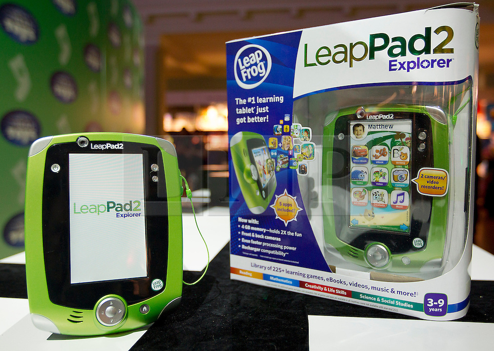 © Licensed to London News Pictures. 31/10/2012. London, UK. A Leap Frog Toys 'Leap Pad 2' (RRP GB£89.99) is seen at a Toy Retailers Association (TRA) fair in London today (31/10/12) as the organisation released its 13 Dream Toys for Christmas 2012. Photo credit: Matt Cetti-Roberts/LNP