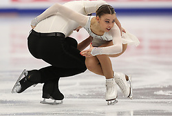 January 17, 2018 - Moscow, Russia - Laura Barquero and Aritz Maestu of Spain perform their short program in the pair competition at the 2018 ISU European Figure Skating Championships, at Megasport Arena in Moscow. (Credit Image: © Igor Russak/NurPhoto via ZUMA Press)