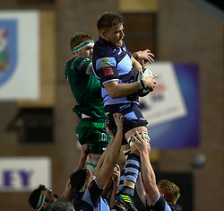 Macauley Cook of Cardiff Blues claims the lineout<br /> <br /> Photographer Simon King/Replay Images<br /> <br /> Guinness PRO14 Round 14 - Cardiff Blues v Connacht - Saturday 26th January 2019 - Cardiff Arms Park - Cardiff<br /> <br /> World Copyright © Replay Images . All rights reserved. info@replayimages.co.uk - http://replayimages.co.uk