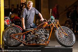 Mark Shell with his Bonneville Customs El Scorcho custom 1996 Harley-Davidson Shovelhead from Idaho Falls, Idaho at the Handbuilt Show. Austin, Austin USA. Sunday, April 14, 2019. Photography ©2019 Michael Lichter.