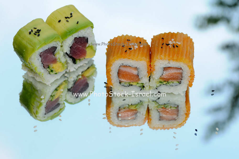 Salmon and Tuna Inside out Sushi