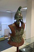 Helmet and armour of a Thracian soldier on display in Kazanlak museum, Bulgaria, eastern Europe