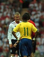 Photo: Tony Oudot.<br /> England v Brazil. International Friendly. 01/06/2007.<br /> Englands David Beckham shares a joke with Robinho of Brazil