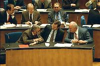 """05 FEB 1998, BONN/GERMANY:<br /> Theo Waigel, CSU, Bundesfinanzminister, Klaus Kinkel, FDP, Bundesaußenminister, Helmut Kohl, CDU, Bundeskanzler, Debatte """"Nichtraucherschutz"""", Deutscher Bundestag<br /> IMAGE: 19980206-03/01-29"""