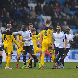 TELFORD COPYRIGHT MIKE SHERIDAN 19/1/2019 - Tempers flare after a late tackle by Darryl Knights of AFC Telford during the Vanarama Conference North fixture between AFC Telford United and Kidderminster Harriers