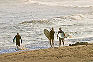 Surfers Walking, Ditch Plains, Montauk, New York, Long. Island, USA