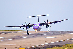 © Licensed to London News Pictures. 14/11/2019. Leeds UK. A Flybe aircraft arriving from Belfast struggles to land in strong winds at Leeds Bradford Airport this morning as the UK braces for more bad weather. Photo credit: Andrew McCaren/LNP