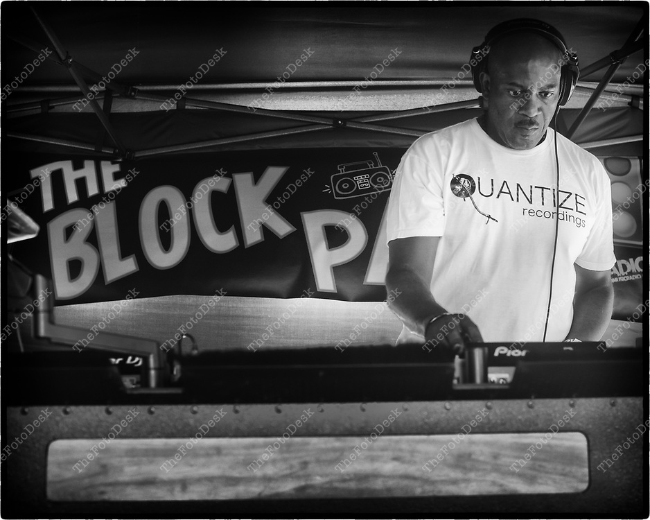 NEWARK, NEW JERSEY:  DJ SPEN during the weekly Block Party on Edison Plaice in Newark, NJ on Friday, July 16, 2021  .(Brian B Price/TheFotodesk).