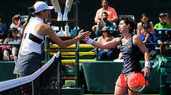 March 9, 2019 - Indian Wells, USA - Carla Suarez Navarro of Spain & Natalia Vikhlyantseva of Russia at the net after their second-round match at the 2019 BNP Paribas Open WTA Premier Mandatory tennis tournament (Credit Image: © AFP7 via ZUMA Wire)