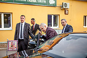 """Czech president Milos Zeman's leaving after  his public """"meetings with citizens"""" at the village of Brasy located in the Pilsen Region. The mayor of Brasy -  Ing. Mgr. Miroslav Kroc (right). Miloš Zeman (born 28 September 1944) is the third and current President of the Czech Republic, in office since 8 March 2013.  He announced his candidacy for the 2018 presidential elections which will be held in the Czech Republic on 12–13 January."""