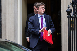 London, UK. 15th January, 2019. Greg Clark MP, Secretary of State for Business, Energy and Industrial Strategy, and David Gauke MP, Lord Chancellor and Secretary of State for Justice, leave 10 Downing Street following a Cabinet meeting on the day of the vote in the House of Commons on Prime Minister Theresa May's proposed final Brexit withdrawal agreement.