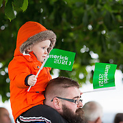 08.06.2016        <br /> Stepping out to support the Limerick 2020 Bid and to watch Scotty Knemeyer's spectacular flyboard show over the River Shannon at Clancy Strand were, 2 year old Joe Murphy and his dad Aidan Murphy, Abbeyfeale County Limerick. Picture: Alan Place