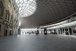 © Licensed to London News Pictures. 08/04/2020. London, UK. An empty Kings Cross train station during the Coronavirus outbreak. The UK is currently on lockdown restrictions restricting travel to key workers only. Photo credit: Ray Tang/LNP