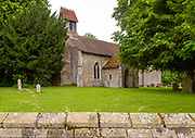 Churchyard rural parish church of Saint Mary, Battisford , Suffolk, England c 1902