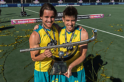 (L-R) Jeremy Hayward of Australia, Eddie Ockenden of Australia during the Champions Trophy finale between the Australia and India on the fields of BH&BC Breda on Juli 1, 2018 in Breda, the Netherlands.