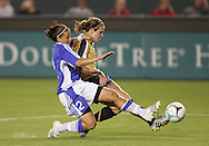 25 August 2007: Heather O'Reilly and Petra Vaelma (2). The United States Women's National Team defeated the Women's National Team of Finland 4-0 at the Home Depot Center in Carson, California in an International Friendly soccer match.