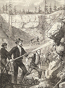 Hydraulic gold mining in California.  Using strong jets of water to wash down  the gold-bearing rock greatly reduced the labour of digging. Engraving c1875.