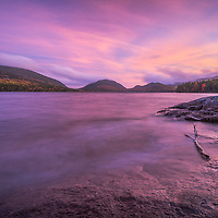 The colors of dusk deepen into an eternal memory at Eagle Lake in Acadia, Maine.