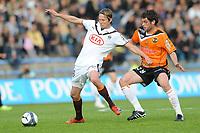 FOOTBALL - FRENCH CHAMPIONSHIP 2009/2010 - L1 - FC LORIENT v GIRONDINS BORDEAUX - 24/04/2010 - PHOTO PASCAL ALLEE / DPPI - JAROSLAV PLASIL (BOR) / PIERRE DUCASSE (FCL)