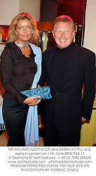 MR RICHARD NORTHCOTT and SARAH ATTRILL at a party in London on 11th June 2002.PAX 11