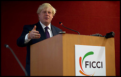 London Mayor Boris Johnson attends a business meeting with Senior Business leaders at the FICCI in Delhi, on the Third day of a six-day tour of India, where he will be trying to persuade Indian businesses to invest in London, Tuesday November 27, 2012. Photo by Andrew Parsons / i-Images