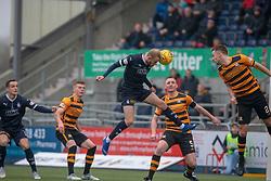Falkirk's Zak Rubben heads wide. half time ; Falkirk 0 v 1 Alloa Athletic, Scottish Championship game played 6/4/2019 at The Falkirk Stadium.