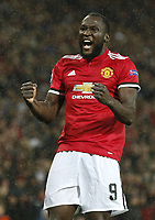 Romelu Lukaku of Manchester United ManU celebrates after scoring the second goal during the Champions League Group A match at the Old Trafford Stadium, Manchester. Picture date: September 12th 2017. <br /> <br /> Norway only