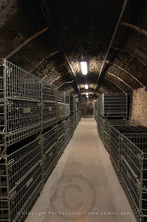 bottles stored in wire cages domaine gros f & s vosne-romanee cote de nuits burgundy france