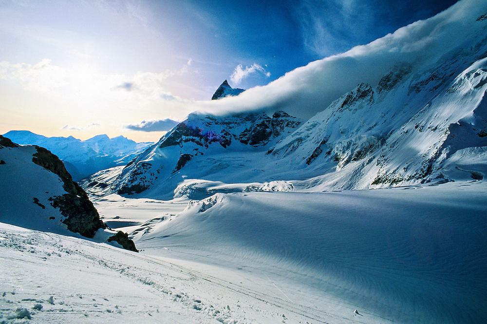 Climbing Col de Valpelline (Matterhorn in back), Haute Route, Switzerland