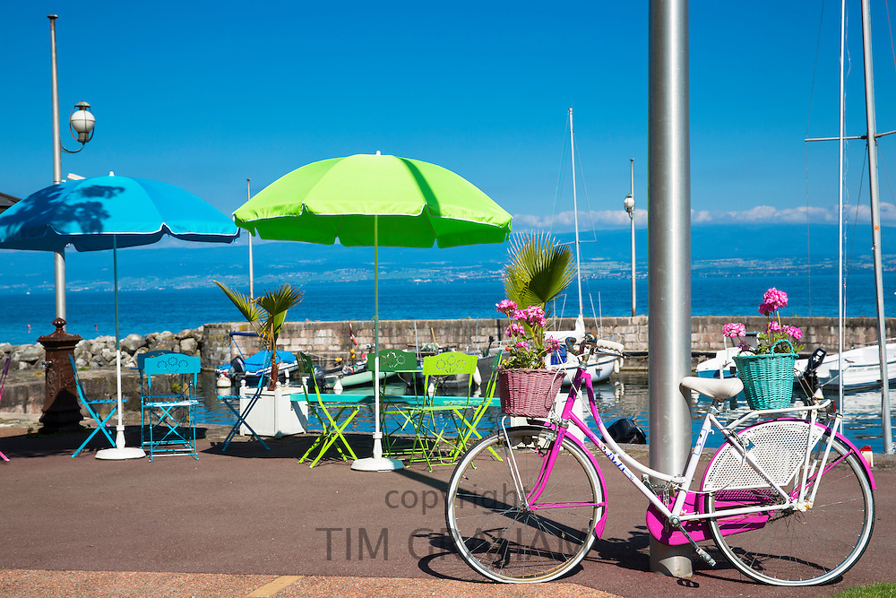 Cafe on the lakeside of Lac Leman, Lake Geneva, in Evian-les-Bains, France