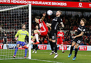 Leeds United defender Pontus Jansson concedes a corner under pressure from Stewart Downing of Middlesbrough  during the EFL Sky Bet Championship match between Middlesbrough and Leeds United at the Riverside Stadium, Middlesbrough, England on 2 March 2018. Picture by Paul Thompson.