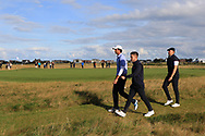 Stewart Hagestad (USA), Conor Gough (GB&I) and Harry Hall (GB&I) on the 6th during Day 2 Foursomes of the Walker Cup, Royal Liverpool Golf CLub, Hoylake, Cheshire, England. 08/09/2019.<br /> Picture Thos Caffrey / Golffile.ie<br /> <br /> All photo usage must carry mandatory copyright credit (© Golffile   Thos Caffrey)