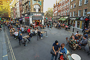 "General view of people enjoying a afternoon out in Soho, in London's West End on Saturday, Sept 12, 2020. People have been warned against having a ""party weekend"" as a former chief scientific adviser said the UK is ""on the edge of losing control"" of coronavirus. The public has been urged to act ""in tune"" with Covid-19 guidelines before the ""rule of six"" restrictions come into force on Monday. The British government's scientific advisory board announced on Friday that the reproduction number of coronavirus transmission across the UK was now over 1.0. The Science and the Scientific Advisory Group for Emergencies (SAGE) said the R-value was now between 1.0 and 1.2. (VXP Photo/ Vudi Xhymshiti)"