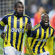 Fenerbahce's Mamadou NIANG (L) celebrate his goal with Issiar DIA (R) during their Turkish superleague soccer match Fenerbahce between Kayserispor at the Sukru Saracaoglu stadium in Istanbul Turkey on Monday 14 February 2011. Photo by TURKPIX
