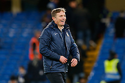 Bradford City Manager Phil Parkinson celebrates after Bradford City pull of a remarkable comeback from 2-0 down to win the match 2-4 and progress to the fifth round of the FA Cup - Photo mandatory by-line: Rogan Thomson/JMP - 07966 386802 - 24/01/2015 - SPORT - FOOTBALL - London, England - Stamford Bridge - Chelsea v Bradford City - FA Cup Fourth Round Proper.