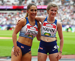 July 22, 2018 - London, United Kingdom - L-R Ali Smith and Sophie Hann of Great Britain and Northern Ireland  (Winners) after the T37/38 200m Women.during the Muller Anniversary Games IAAF Diamond League Day Two at The London Stadium on July 22, 2018 in London, England. (Credit Image: © Action Foto Sport/NurPhoto via ZUMA Press)