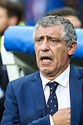 Fernando Santos, Portugal's coach singing the anthem at the beginning of Euro Cup Final that opposed Portugal and France, and that the Portuguese won 1-0 on extra-time at Saint Denis stadium in Paris.