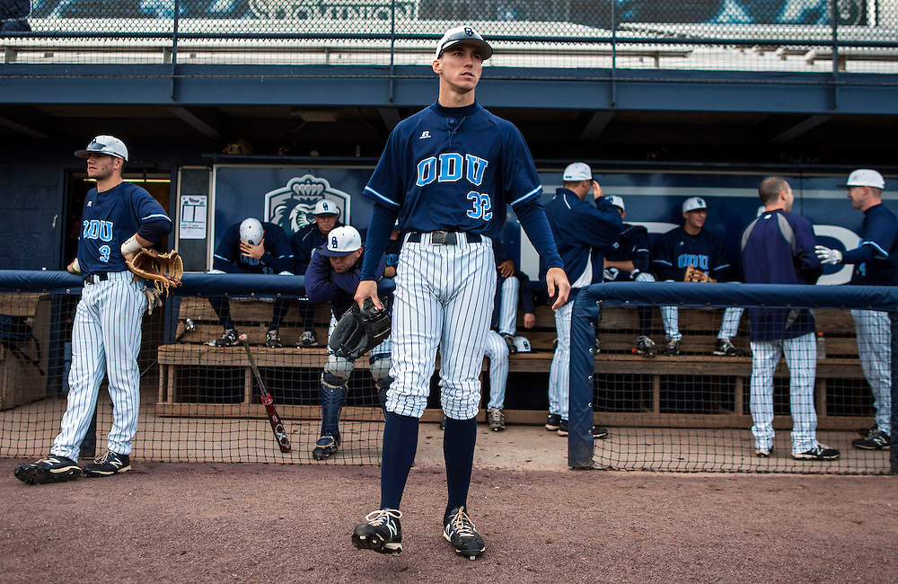 May 3, 2013; Norfolk, VA; ODU Monarchs right fielder Ben Verlander (32) waits to take the field before the game against the George Mason Patriots at the Bud Metheny Baseball Complex . Mandatory Credit: Peter Casey-USA TODAY Sports