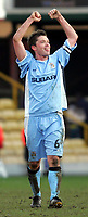 Photo:  Frances Leader.<br /> Watford v Coventry City. Coca Cola Championship. <br /> Vicarage Road Stadium<br /> 05/03/2005<br /> Coventry's captain Stephen Hughes celebrates his team's win over Watford