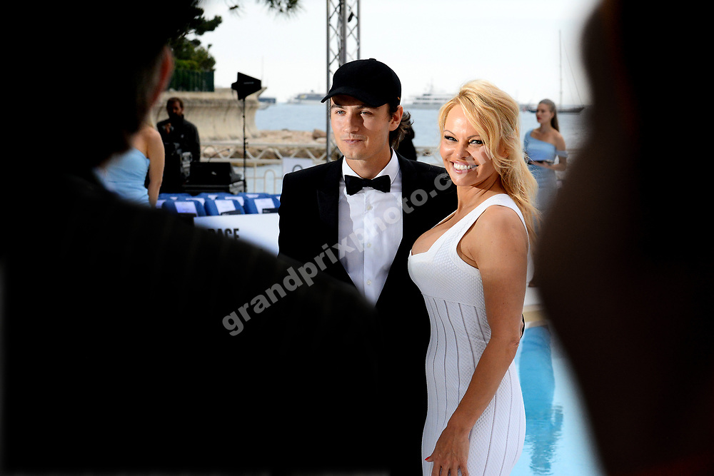 Pamela Anderson with her son at Amber Lounge fashion show before the 2019 Monaco Grand Prix. Photo: Grand Prix Photo