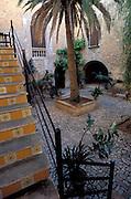 SPAIN. Balearic Islands: Courtyard on SE corner of the island , Mallorca (Majorca).