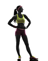 one  woman exercising fitness standing looking away in silhouette on white background