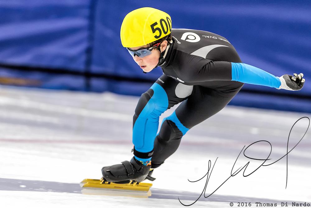 December 17, 2016 - Kearns, UT - Hudson Halling skates during US Speedskating Short Track Junior Nationals and Winter Challenge Short Track Speed Skating competition at the Utah Olympic Oval.
