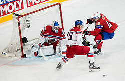 Radim Simek of Czech Republic, Pavel Francouz of Czech Republic and Ken Andre Olimb of Norway during the 2017 IIHF Men's World Championship group B Ice hockey match between National Teams of Czech Republic and Norway, on May 11, 2017 in AccorHotels Arena in Paris, France. Photo by Vid Ponikvar / Sportida