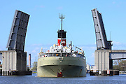 The cement carrying Alpena departs from the LaFarge dock in the Port of Green Bay.