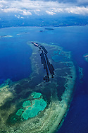 Aerial view of Batasan island and its aquaculture system, near Bohol,  Central Visayas, Philippines, Southeast Asia