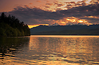 Sunset alpenglow at Holly Bay on the Hood Canal with the Olympic Mountains in the distance, Puget Sound, WA, USA