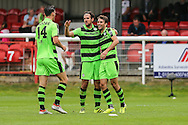 Forest Green Rovers Christian Dioge (9) celebrates his goal, 3-3 during the Vanarama National League match between Dover Athletic and Forest Green Rovers at Crabble Athletic Ground, Dover, United Kingdom on 10 September 2016. Photo by Shane Healey.