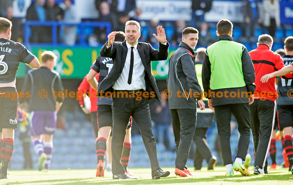 Doncaster manager Darren Ferguson celebrates their win over Portsmouth in the Sky Bet League 2 match between Portsmouth and Doncaster Rovers at Fratton Park in Portsmouth. October 1, 2016.<br /> Simon  Dack / Telephoto Images<br /> +44 7967 642437