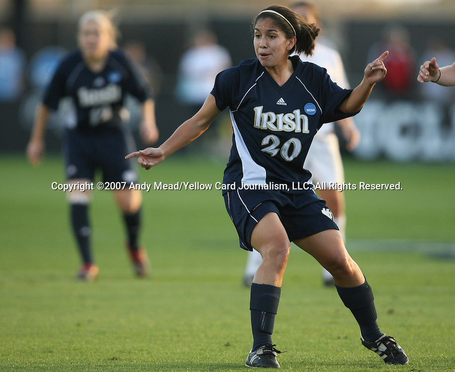 07 December 2007: Notre Dame's Rebecca Mendoza. The Florida State Seminoles defeated the University of Notre Dame Fighting Irish played 3-2 at the Aggie Soccer Stadium in College Station, Texas in a NCAA Division I Womens College Cup semifinal game.